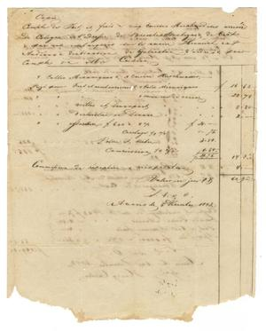 Primary view of object titled '[Document stating the expenses aboard the Henrich bound for Galveston, December 1843]'.