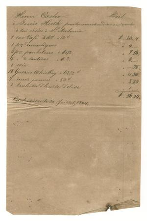 Primary view of object titled '[Document detailing expenses for merchandise delivered to Huth in San Antonio, July 30, 1844]'.