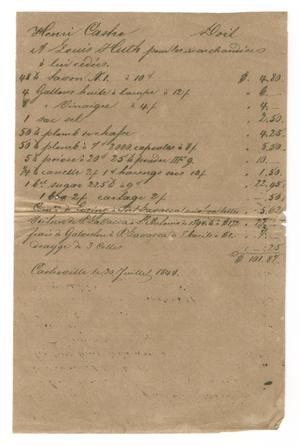 Primary view of object titled '[Document detailing expenses for merchandise delivered to Huth, July 30, 1844]'.