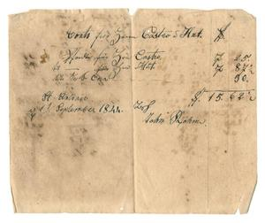 [Document listing items chargeable to Mr. Castro and Mr. Huth's account, September 11, 1844]