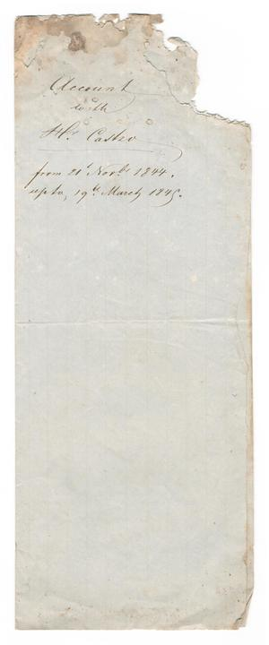 Primary view of object titled '[Account with Hr. Castro, November 21, 1844 to March 19, 1845]'.
