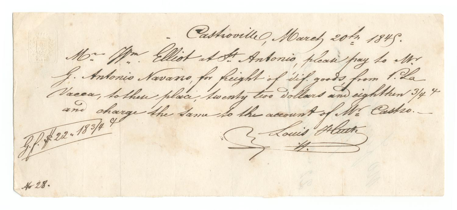 [Note from Ferdinand Louis Huth to William Elliot, March 20, 1845]                                                                                                      [Sequence #]: 1 of 2