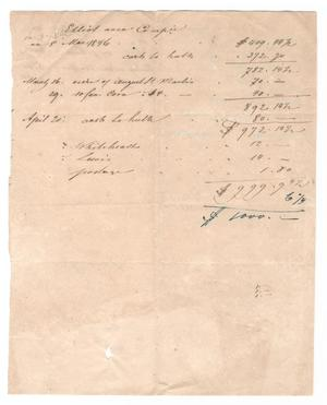 Primary view of object titled '[Ledger sheets showing transaction relating to the colonization of Castroville, March 5, 1846]'.