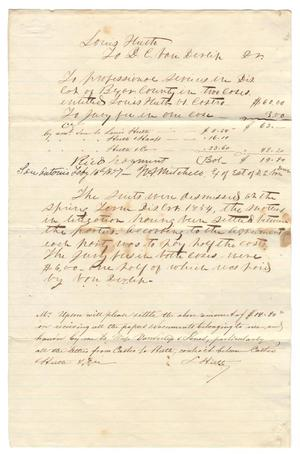 [Document regarding a sum of $14.80 and a settled lawsuit, 1854]