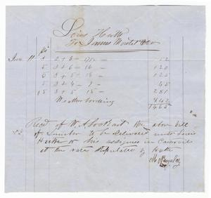 Primary view of object titled '[Receipt for lumber, June 11, 1857]'.