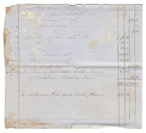 Primary view of object titled '[Balance sheet, 1857-1858]'.