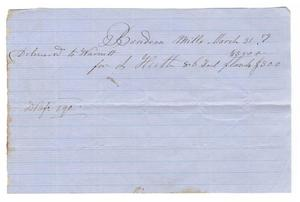 Primary view of object titled '[Receipt for lumber, March 31, 1859]'.