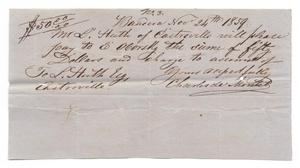 Primary view of object titled '[Letter from Charles de Montel, November 24, 1859]'.