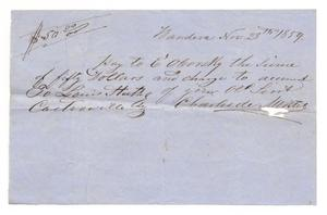 Primary view of object titled '[Letter from Charles de Montel, November 28, 1859]'.