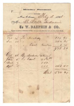 Primary view of object titled '[Monthly statement from W. Dauhpin & Co. to M. Feille of San Antonio, February 18, 1868]'.