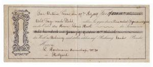 Primary view of object titled '[Document issuing payment, July 27, 1867]'.
