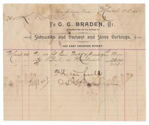 Primary view of object titled '[Receipt for $60.80 for a cement walkway, March 2, 1891]'.
