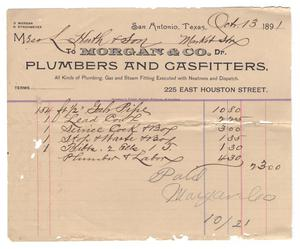 [Receipt for $23.00 for pipe and other items, October 13, 1891]