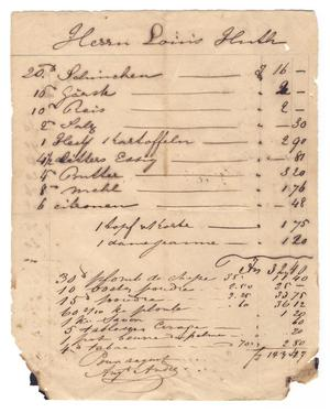 Primary view of object titled '[Document listing provisions]'.