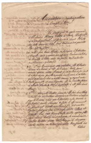 Primary view of object titled '[Document describing an agreement between Henri Castro, Ferdinand Louis Huth, and Huth & Co., October 5, 1843]'.