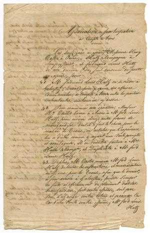 Primary view of [Document describing an agreement between Henri Castro, Ferdinand Louis Huth, and Huth & Co., October 5, 1843, Copy 2]