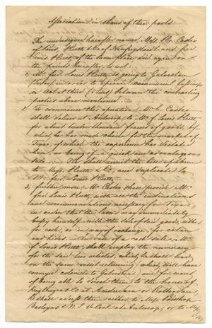 Primary view of object titled '[Document describing an agreement between Henri Castro, Ferdinand Louis Huth, and Huth & Co., October 5, 1843, English translation]'.