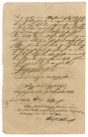 [Document concerning Slasi Albrecht's travel to Texas, October 9 and October 26, 1843]
