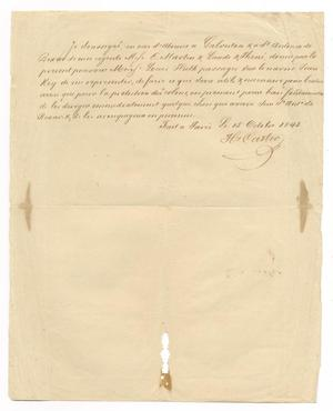 Primary view of object titled '[Document giving power of attorney to Ferdinand Louis Huth, October 15, 1843]'.