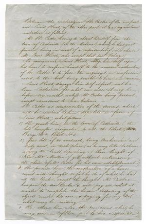 Primary view of object titled '[Contract between Huth and Castro, November 20, 1844]'.