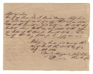 Primary view of object titled '[Document certifying Louis Huth's election as Justice of the Peace for Precinct No. 6, July 25, 1846]'.