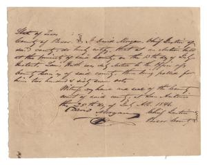 Primary view of object titled '[Document certifying Louis Huth's election as Justice of the Peace for Precinct No. 6, July 25, 1846, copy 2]'.
