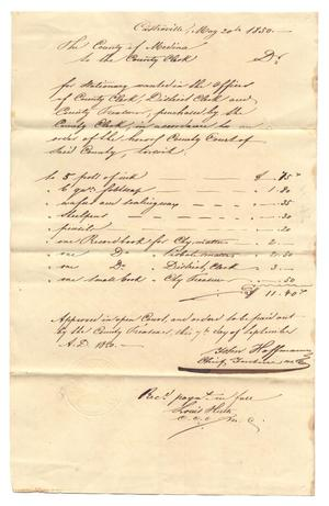 Primary view of object titled '[Document regarding the passage of Act No. 21, May 20, 1850]'.