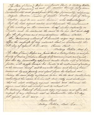 Primary view of object titled '[Notarized document regarding by the legal case between Huth and Castro, April 3, 1854]'.