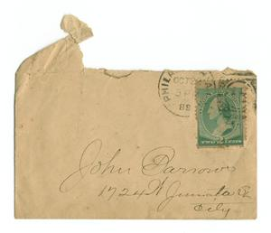 Primary view of object titled '[Envelope addressed to John Barrows, October 22, 1888]'.