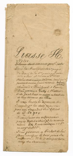 Primary view of object titled '[Document containing notes about debts and credits]'.