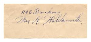 [Address of Mrs. R. Holdsworth]