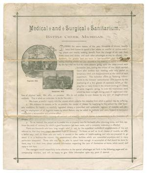 Primary view of object titled 'Medical & Surgical Sanitarium, Battle Creek, Michigan'.