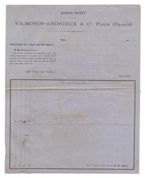 Primary view of object titled '[Order sheet for Vilmorin-Andrieax & Co, Paris, France]'.