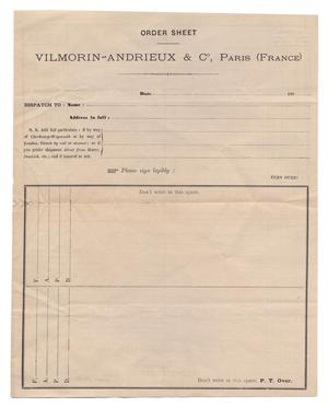 Primary view of object titled '[Order sheet for Vilmorin-Andrieax & Co, Paris, France, copy 2]'.
