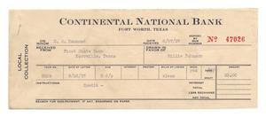 Primary view of object titled '[Local Collection receipt, Continental National Bank, Fort Worth, Texas, August 27, 1937]'.