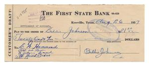 Primary view of object titled '[Customer's Draft, Continental National Bank, Fort Worth, Texas, August 27, 1937]'.