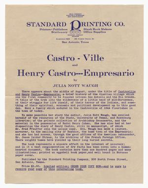 Primary view of object titled '[Promotional material for a book about Castro and Castroville]'.
