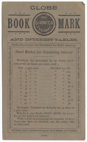 Primary view of object titled '[Globe Book Mark and Interest Tables]'.