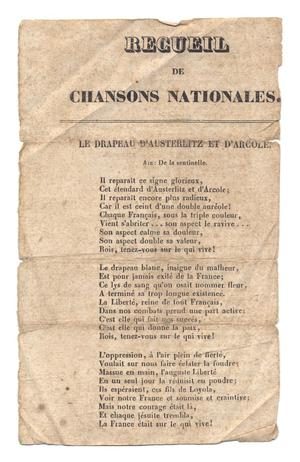 Recueil de Chansons Nationales, Selection of National Anthems, Huth (Ferdinand Louis) Papers