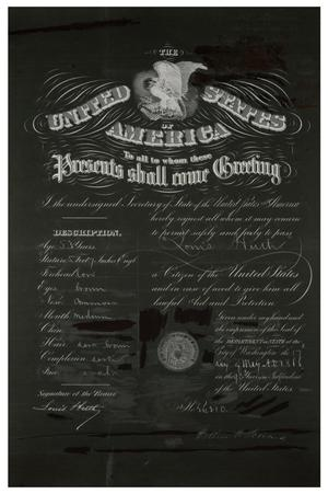 Primary view of object titled '[Passport for Louis Huth, May 17, 1866, negative copy]'.
