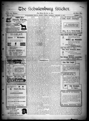 Primary view of The Schulenburg Sticker (Schulenburg, Tex.), Vol. 8, No. 27, Ed. 1 Thursday, February 6, 1902