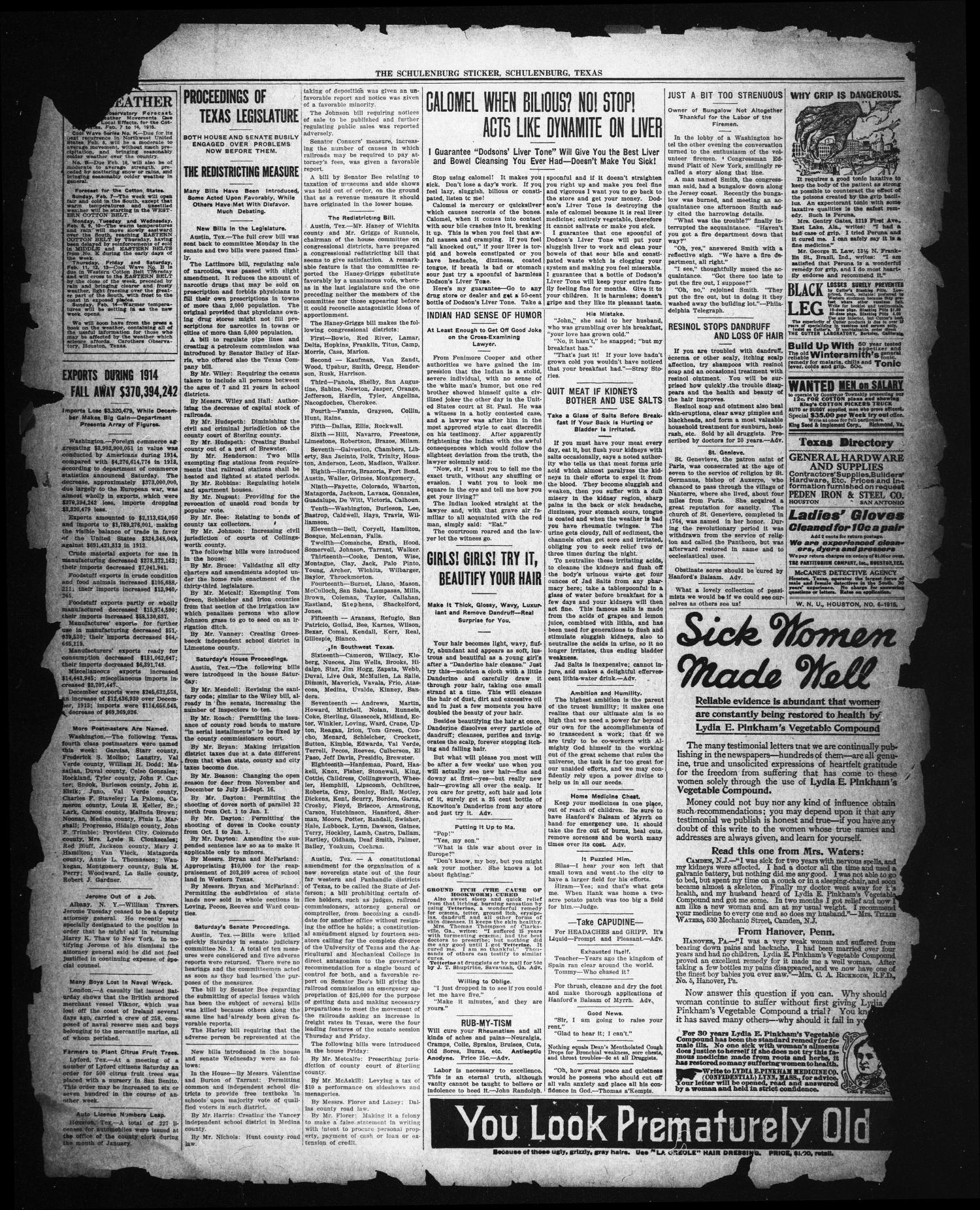 The Schulenburg Sticker (Schulenburg, Tex.), Ed. 1 Friday, February 5, 1915                                                                                                      [Sequence #]: 2 of 3