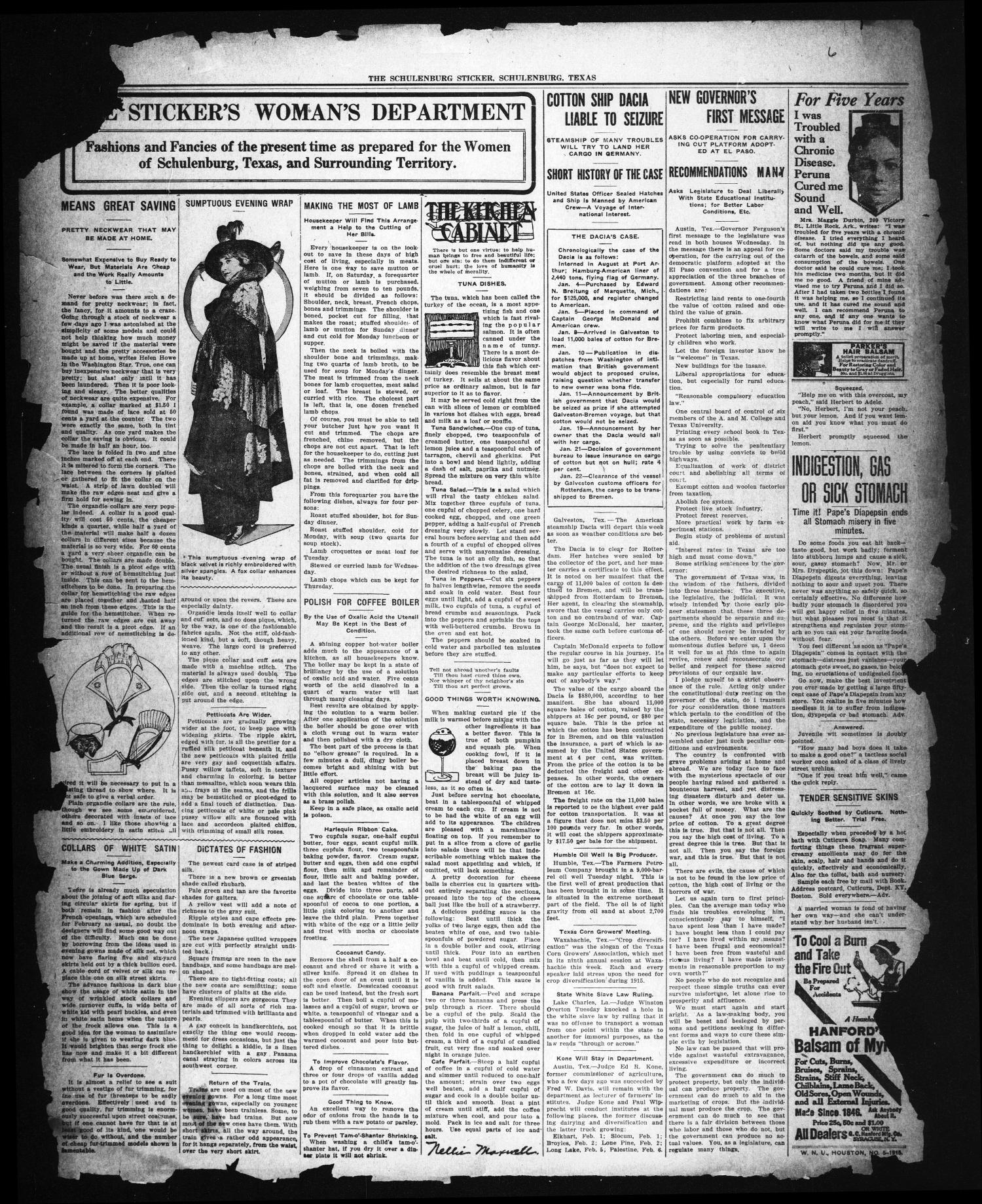 The Schulenburg Sticker (Schulenburg, Tex.), Ed. 1 Friday, February 5, 1915                                                                                                      [Sequence #]: 3 of 3
