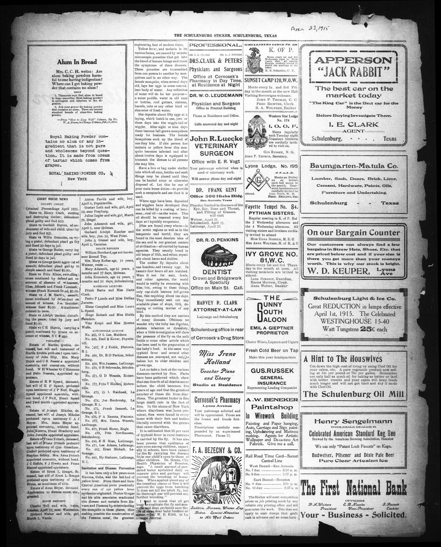 The Schulenburg Sticker (Schulenburg, Tex.), Ed. 1 Friday, April 23, 1915                                                                                                      [Sequence #]: 1 of 2