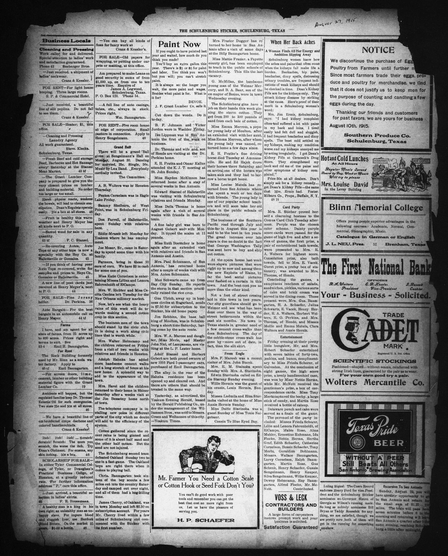 The Schulenburg Sticker (Schulenburg, Tex.), Ed. 1 Friday, August 27, 1915                                                                                                      [Sequence #]: 1 of 2