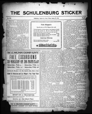 Primary view of object titled 'The Schulenburg Sticker (Schulenburg, Tex.), Vol. 22, No. 18, Ed. 1 Friday, January 28, 1916'.