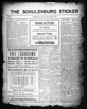 Primary view of object titled 'The Schulenburg Sticker (Schulenburg, Tex.), Vol. 22, No. 19, Ed. 1 Friday, February 4, 1916'.