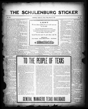 Primary view of object titled 'The Schulenburg Sticker (Schulenburg, Tex.), Vol. 22, No. 25, Ed. 1 Friday, March 17, 1916'.