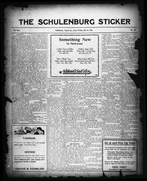 Primary view of object titled 'The Schulenburg Sticker (Schulenburg, Tex.), Vol. 22, No. 29, Ed. 1 Friday, April 14, 1916'.