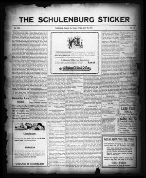 Primary view of object titled 'The Schulenburg Sticker (Schulenburg, Tex.), Vol. 22, No. 31, Ed. 1 Friday, April 28, 1916'.